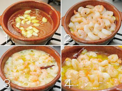 作り方は同じです。解凍したむきえびをペーパータオルでふいて、どさっと一気にオイルの中に入れ、ぐつぐつと煮ます。軽く塩・こしょうをふってできあがり。